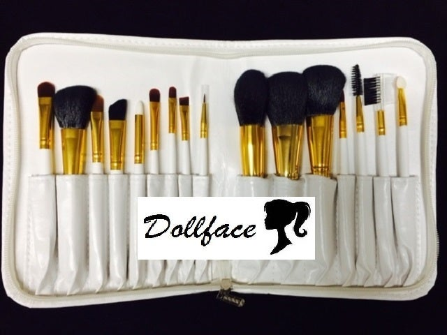 Dollface 16 piece deluxe white professional brush set