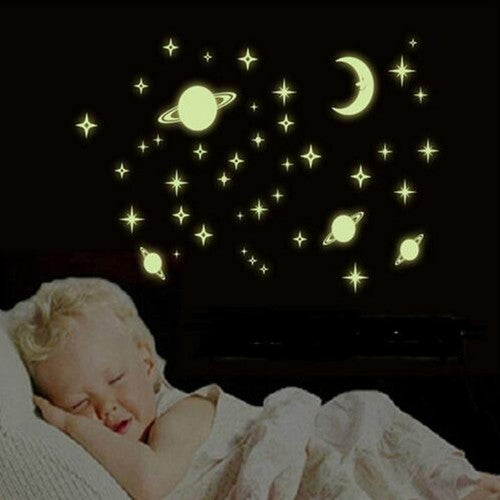 Stickers Hot Wall Art Decoration Ceiling Universe Planet New Glow Fluorescent