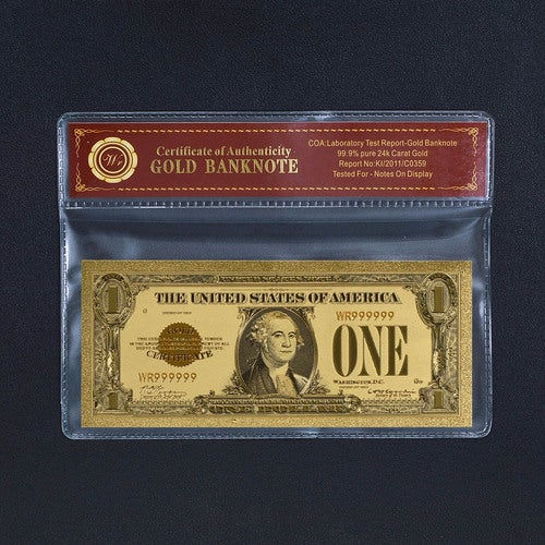 1928 24K GOLD CERTIFICATE $1 DOLLAR COLLECTORS EDITION WITH COA (CERTIFICATE OF AUTHENTICITY)