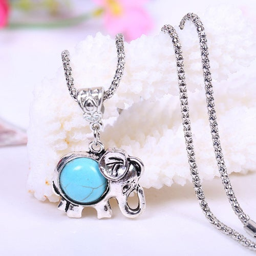 18kt White Gold Plated Elephant  Synthetic Turquoise Charm Necklace