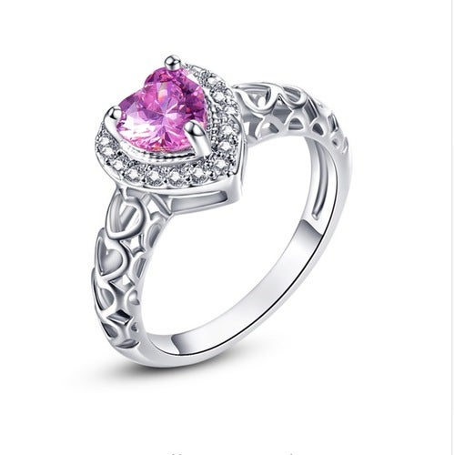 Gorgeous Pink CZ Heart Ring--924