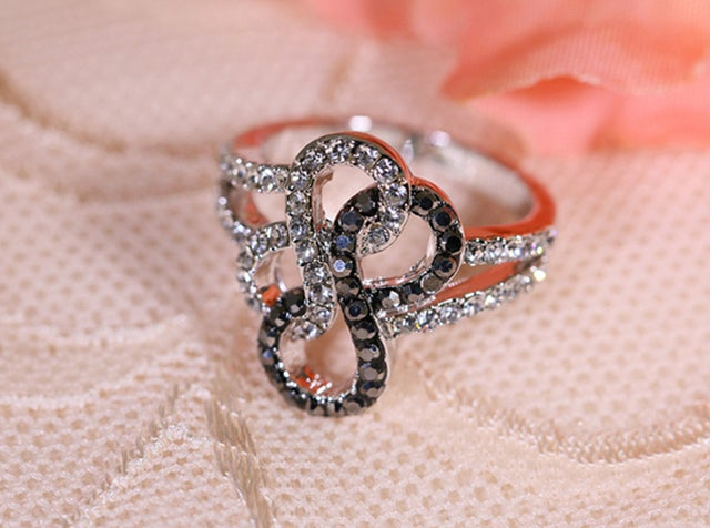 Double Infinity Black and White Women Fashion Statement Ring #519