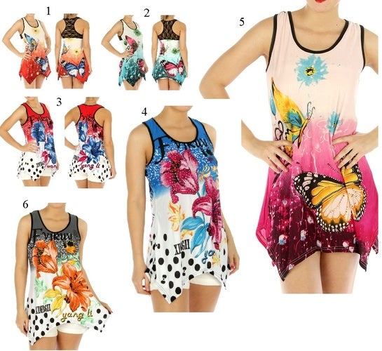 Studded Floral or Butterfly Print Handkerchief style Tank Top Your Choice of color and Size