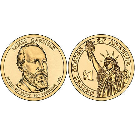 Collectors Dream Set Of 3 Two Dollar Bill With The Declaration Of Independence In 1776 On The Back Gold Dollar With James A Garfield 20 Th President