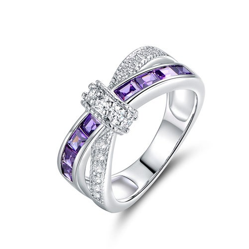 18K White Gold 3CTTW Plated Purple and White CZ Crisscross Ring