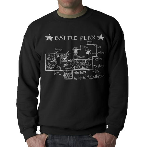 Home Alone Battle Plan By Kevin Men's Black Sweatshirt