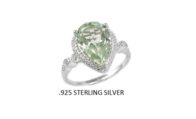 .925 Sterling Silver Ring .01Ct Diamond Accent W/ Genuine Green Ametyst