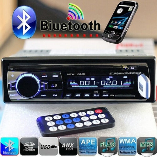 JSD-520 Bluetooth V2.0 Car Radio Stereo Audio MP3 Player 12V In-dash Single 1 Din FM Receiver Aux Receiver USB SD Remote Control