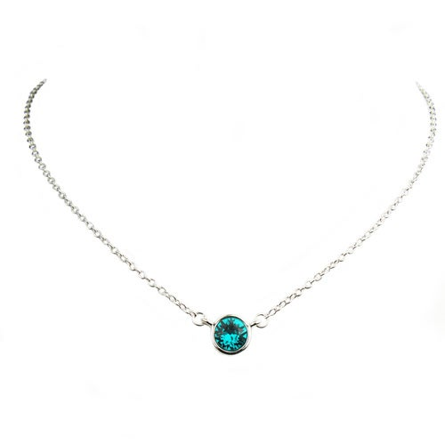 Captivating Egyptian Blue CZ Charm Pendant Necklace - Round