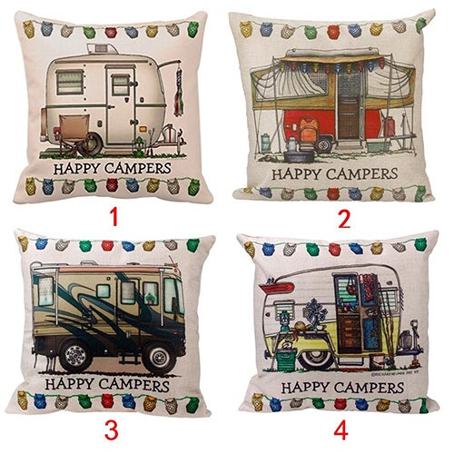 Home Decor Stylish Happy Campers Sofa Waist Throw Cushion Cover Pillow Case