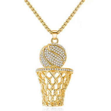 Stainless Steel Exaggerated Basketball Box Necklace Atmosphere Personality Ball