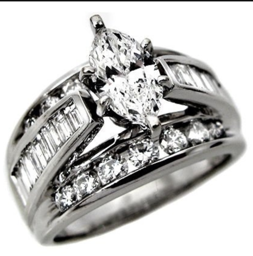 White or Yellow Gold Plated Classic Style Marquise Cut Center w/ Channel Set Baguettes & Rounds Ring