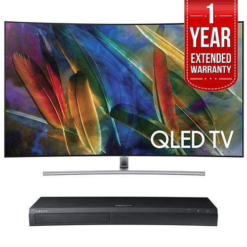 Samsung Curved 55 4K UHD Smart QLED TV + HD Blu-ray Player + Extended Warranty