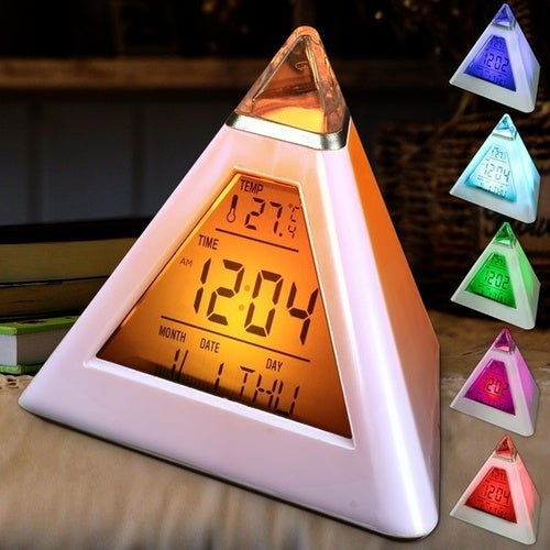 7 LED Home Changing Color Decor Pyramid Digital LCD Alarm Desk Clock Thermometer (Size: 1pcs)