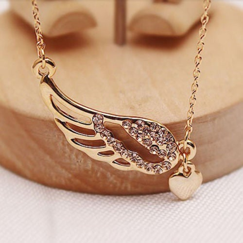 Gold Angel Wing Necklace With Heart