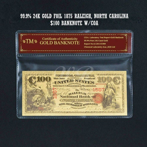 Limited 99.9% 24k Gold Foil Polymer Collectors 1875 US $100 with Certificate of Authenticity