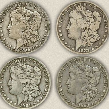 SET OF 4 (DATED BETWEEN 1881-1901)COPY MORGAN SILVER DOLLAR Collecting Coins