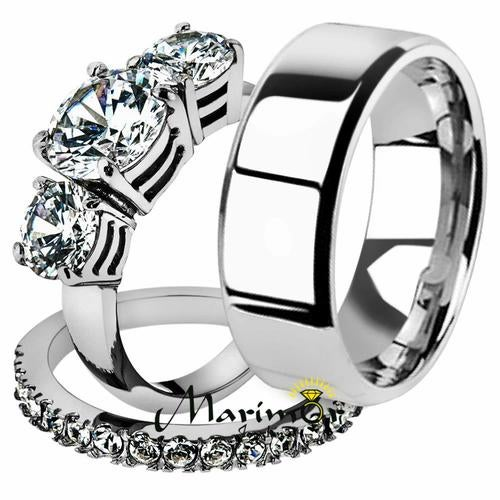 His & Her 3pc Stainless Steel 4.17 Ct Cz Bridal Ring Set & Men Beveled Edge Band