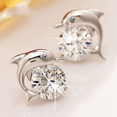 1 Pairs Dolphins Shape Stud Earrings Luxury Jewelry Earring