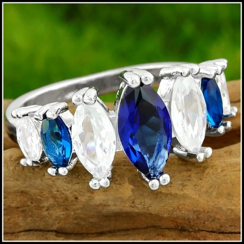 5.50ctw AAA+ Grade Blue and White Cubic Zirconia CZ, 14k White Gold Filled Ring