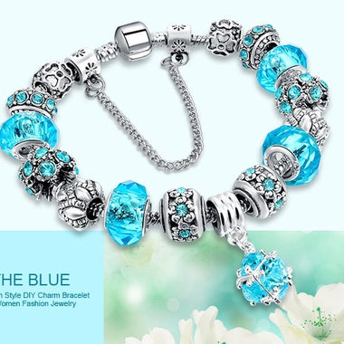 European Charm Beads Bracelet & Bangle Authentic Crystal Chain Bracelets for Wom