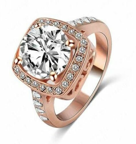 Jewelry B05 Womens Rose Gold Plated CZ Ring