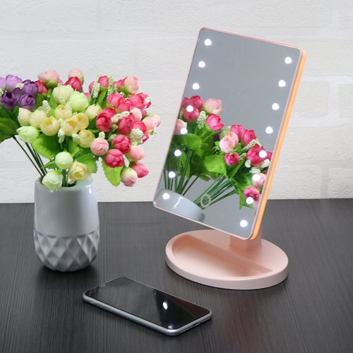 16-LED Makeup Mirror Touch Screen Makeup Mirror USB or 4*AA Battery Power Supply 180-360 Degree Rotation Adjustable Countertop for Home Beauty Improvement