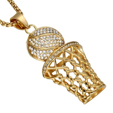 HIP Hop Iced Out Bling Full Rhinestone Men Basketball Pendants Necklaces Stainle