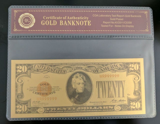 Limited 99.9% 24k Gold Foil Polymer Collectors 1928 US $20 with Certificate of Authenticity