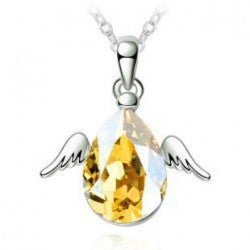 18kt White Gold Plated Flying Angel Wings Necklace