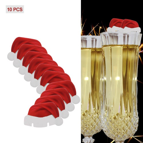 10 PCS Table Place Cards Christmas Santa Hat Wine Glass Decoration Cute Xmas Home Decor