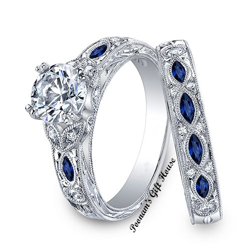 Marquise Shaped Blue Side CZ Engagement Ring