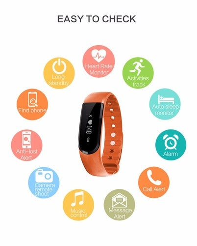 Best Smart Bracelet BT4.0 Heart Rate Monitor Smartband Pulse Sports Fitness Activity Tracker Wristband For Android IOS (ID101)