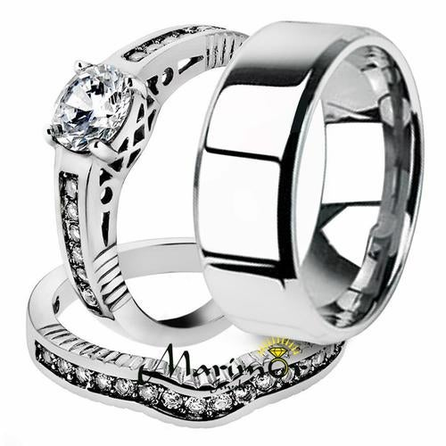 His & Her 3pc Stainless Steel 1.75 Ct Cz Bridal Ring Set & Men Beveled Edge Band