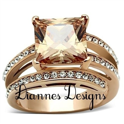 Exquisite Champagne Princess Ring in Rose Gold EP
