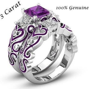 2PCS Brilliant 3 Carat Purple Square Cut Ring Set
