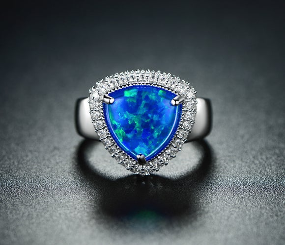 White Gold Filled Trillion-Cut Blue Jelly Genuine Ethiopian Opal Statement Ring