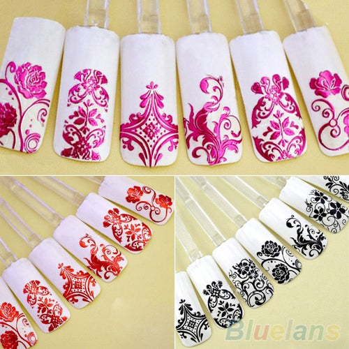 108PCS 3D Flower Decal Stickers Nail Art Tip Stamping Manicure DIY Decoration