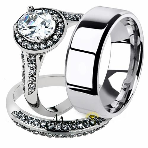 His & Her 3pc Stainless Steel 2.60 Ct Cz Bridal Ring Set & Men Beveled Edge Band