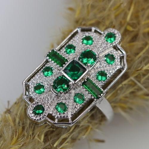 2018 Art-Deco Filigree high quality ring. Genuine 5AAAAA level Italian Zircon. Certified 3x Platinum plate with additional layer for a protection purpose. Great gift. Fashionable women ring.