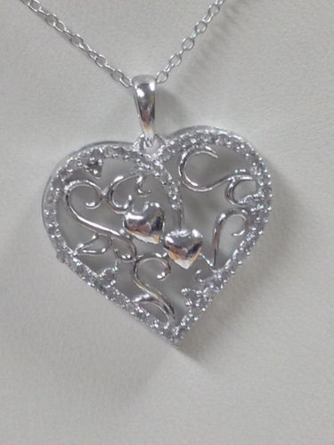 Natural Diamond Heart Necklace 925 Sterling Silver with Gold Plated