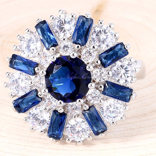 Delicate Blue & White Sapphire Sterling Silver 925 Ring