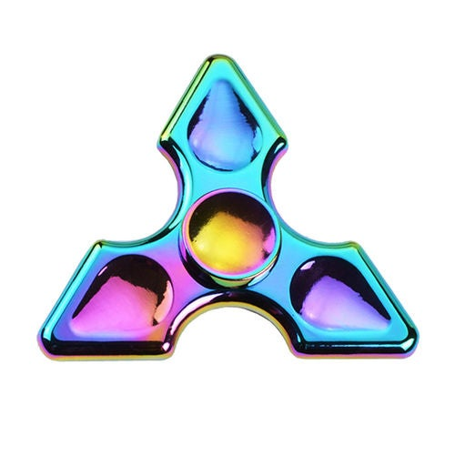 Rainbow Colorful Metal Tri Spinner Fidget EDC Hand Toy Relieving Stress Spinners