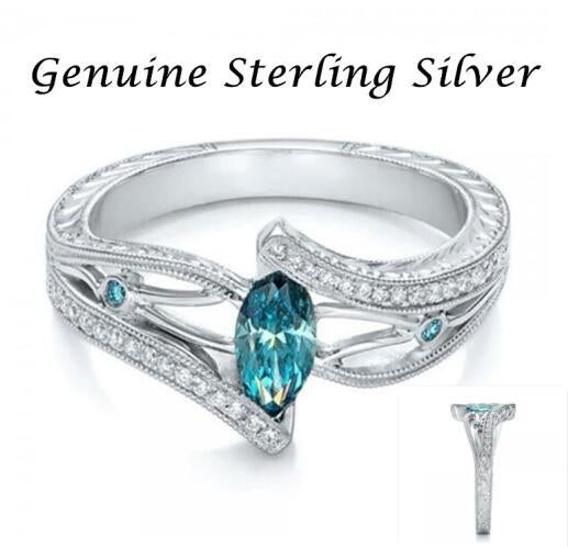 New Arrival Women's Luxury aquamarine topaz Hollow Ring in Sterling Silver