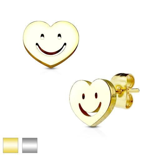 Heart with Smile 316L Stainless Steel Earring Studs Pair
