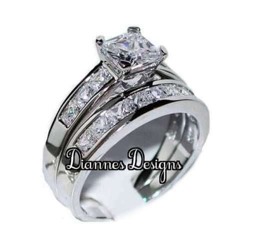 New Princess Wedding Ring Set in Stainless Steel