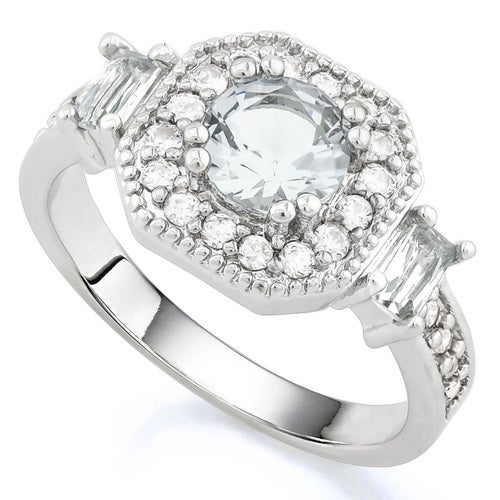 14k White Gold Filled, Beautifully Created Fine White Sapphire Ring