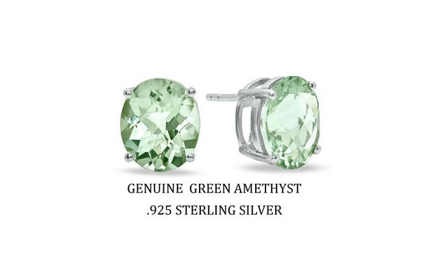2.00 CTTW .925 Sterling Silver Genuine Oval Green Ametyst Stud Earings