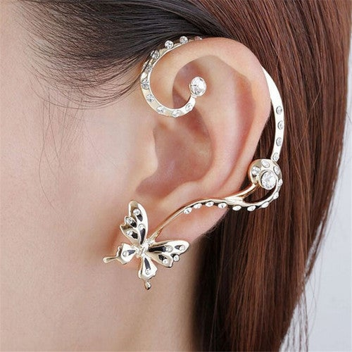 5d6f506c6 1 Pair Crystal Butterfly Stud Earring Cuff Ear Clip ... | Tophatter