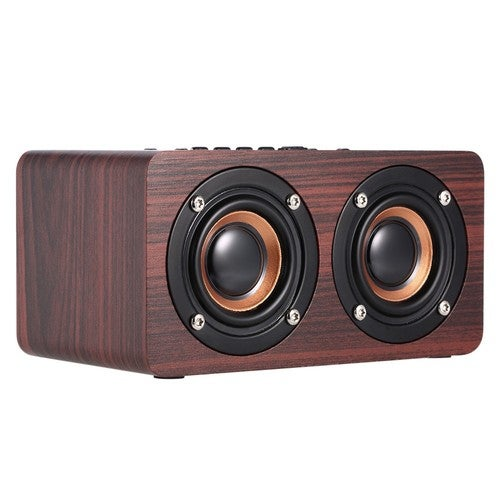 W5 Red Wood Grain Speaker Bluetooth 4.2 Dark Dual Louderspeakers Super Bass Subwoofer Hands-free with Mic 3.5mm AUX-IN TF Card